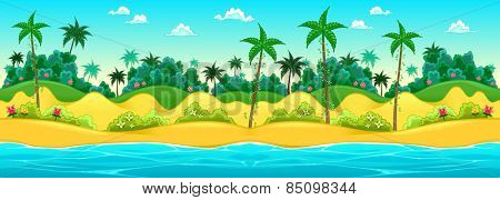 Landscape on the seashore. Vector cartoon illustration, the sides repeat seamlessly for a possible, continuous animation.