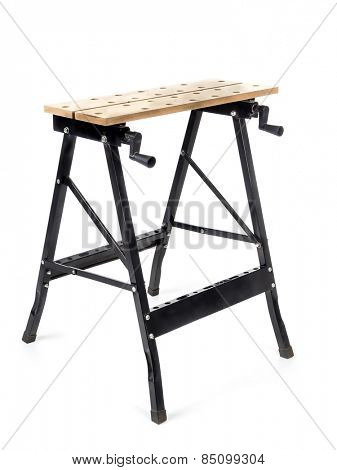 Adjustable sawhorse shot on white