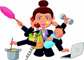 Vector illustration of Cartoon multitasking housewife isolated on white background poster