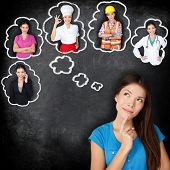 Career education choice options - student thinking of future education. Young Asian woman contemplating career options smiling looking up at thought bubbles on a blackboard with different professions poster
