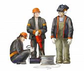 Welder, electrician, jack hammer, deputy manage, arkhitect and project manager. Builders working on construction works illustration poster