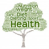 Concept or conceptual green text word cloud or tagcloud tree isolated on white background, metaphor to health, nutrition, diet, healthy, wellness, body, energy, medical, sport, heart or science poster