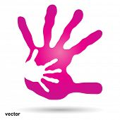 Vector conceptual human or mother and child hand prints painted, isolated on white background for art, care, childhood, family, fun, happy, infant, symbol, kid, little, love, mom, motherhood or young poster