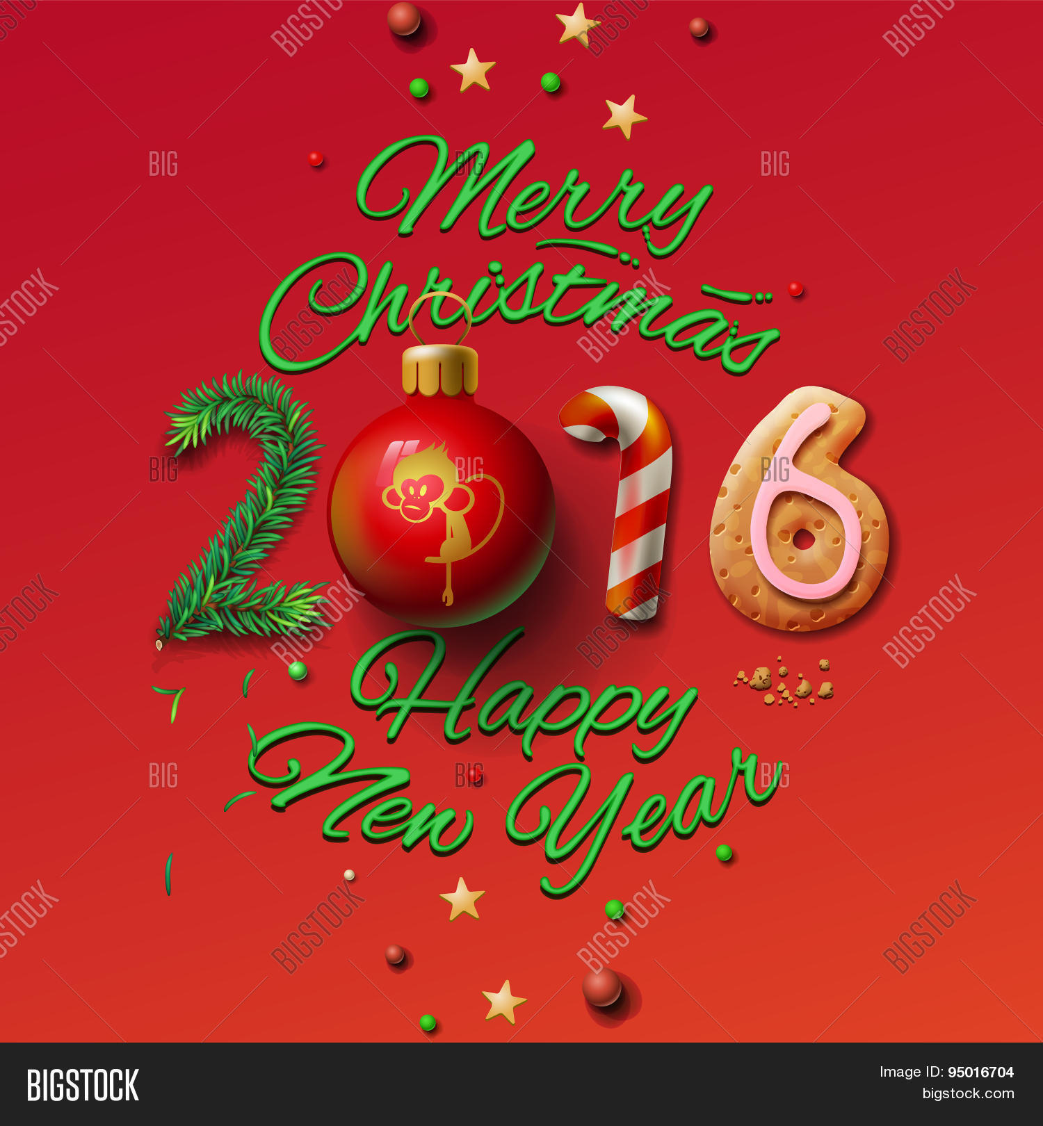 Happy New Year 2016 Greeting Card and Merry Christmas 3026d39257