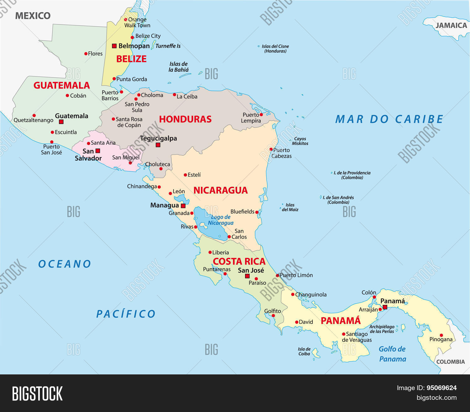 Central America Map Vector & Photo (Free Trial) | Bigstock