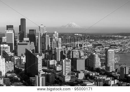 Seattle Skyline Panorama At Sunset