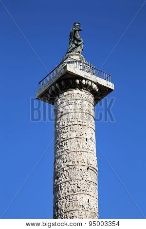Column Of Marcus Aurelius In Rome, Italy