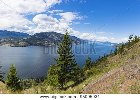 Okanagan Lake Panorama Kelowna Bc Canada