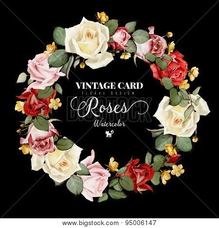 Wreath Of Roses, Watercolor, Can Be Used As Greeting Card, Invitation Card For Wedding, Birthday And