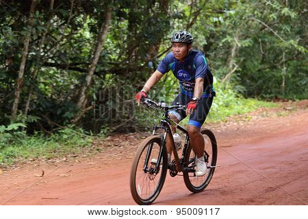 Unknown Bikers Action At The Bicycle Racing For Pang Sida Competition In Pang Sida National Park, Sa