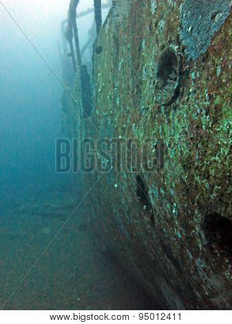 Massive Shipwreck, Sits On A Sandy Seafloor In Bali