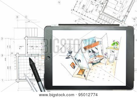 Architectural Plans With Tablet Computer