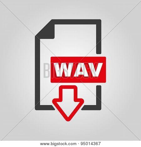 The Wav Icon. File Audio Format Symbol. Flat