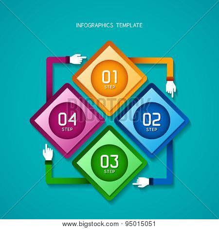 Abstract Vector 4 Steps Infographic Template In Flat Style For Layout Workflow Scheme