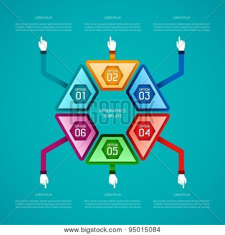 Abstract Vector 6 Steps Infographic Template In Flat Style For Layout Workflow Scheme