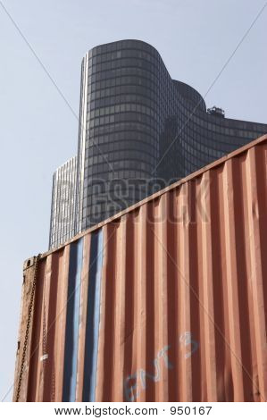 Container Before Office Building