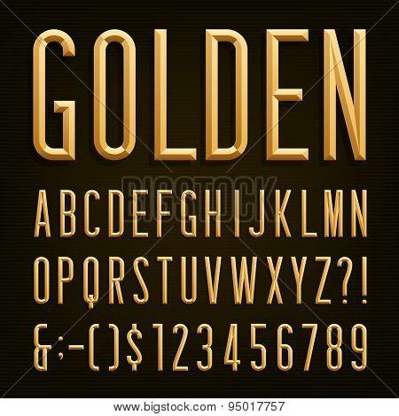 Golden Beveled Narrow Font. Vector Alphabet.