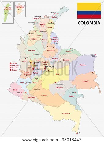 administrative map of the South American country Colombia with flag poster