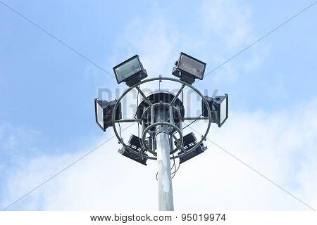 Stadium Lights, Isolated Isolated On Bule Sky