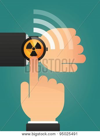 Hand Pointing A Smart Watch With A Radio Activity Sign