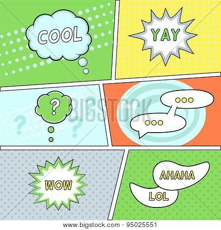 Comics Speech Bubbles on Retro Background