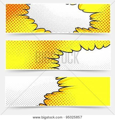 Pop-art Comic Book Style Yellow Header Set