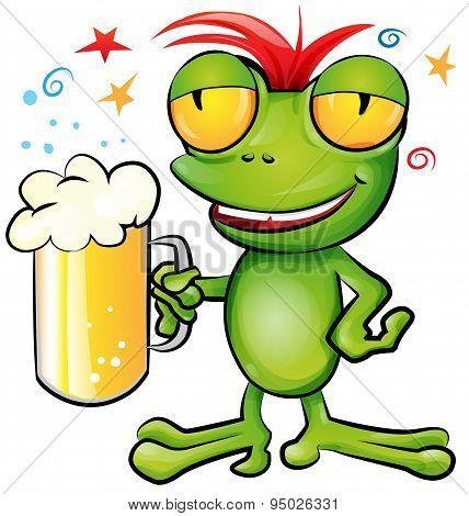 frog Cartoon With Schooner Beer