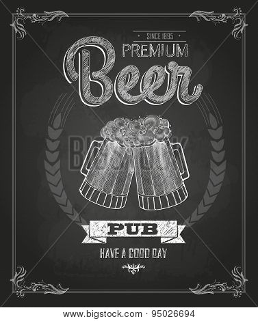 Poster With Beer In Mag. Chalk Drawing