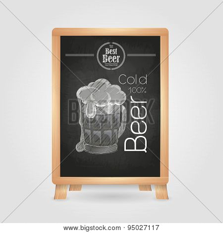 Beer In Mag. Chalk Drawing Poster