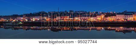 Panoramic View Of Waterford, Ireland At Night