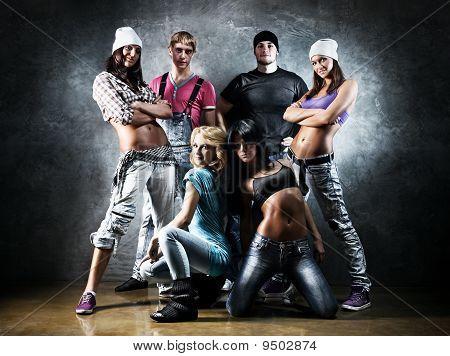 Dancer team . Contrast colors effect . poster
