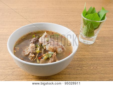 Thai Spicy Beef Entrails Soup With Basil