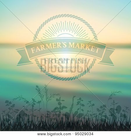 Green badge in retro style for farmer's market