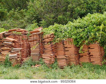 Piled tiles with green plants