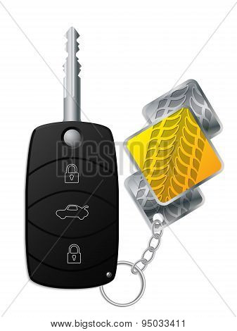 Car Remote With Tire Tread Keyholder