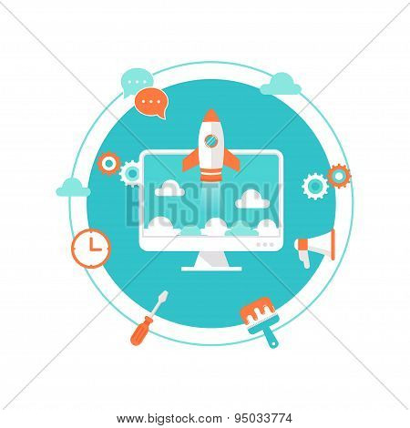 Website Launch, Content Development and Maintenance Illustration