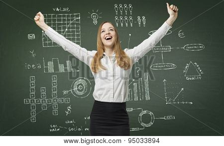 Happy Business Lady Have Found The Solution For A Business Project. Graphs And Flowcharts Are Drawn