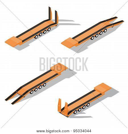Trawl Semitrailer Isometric Detailed Icon