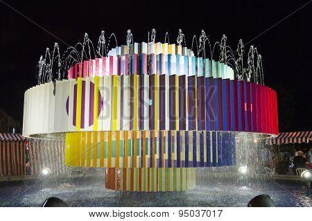 Colorful Fountain At Dizengoff Square In Tel Aviv .