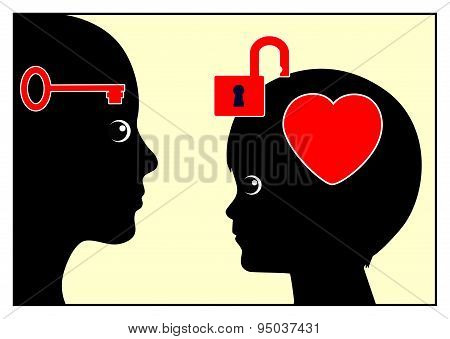 Adult person like parent or psychologist is building trust to child poster