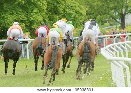 Rear View Of The Race Horses In A Curve