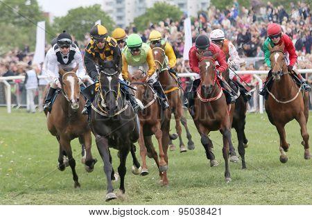 Tough Race Between The Race Horses And Jockeys