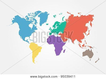 Vector y foto vector world map continent bigstock vector world map with continent in different color flat design gumiabroncs Gallery