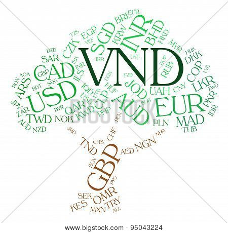 Vnd Currency Means Vietnam Dong And Dongs