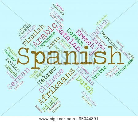 Spanish Language Indicates Vocabulary Lingo And Wordcloud