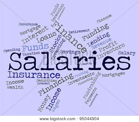 Salaries Word Indicates Income Money And Pay