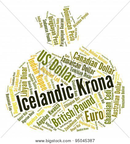 Icelandic Krona Indicates Foreign Currency And Forex