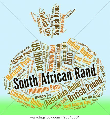 South African Rand Represents Currency Exchange And Coinage