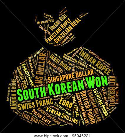 South Korean Won Represents Worldwide Trading And Currencies