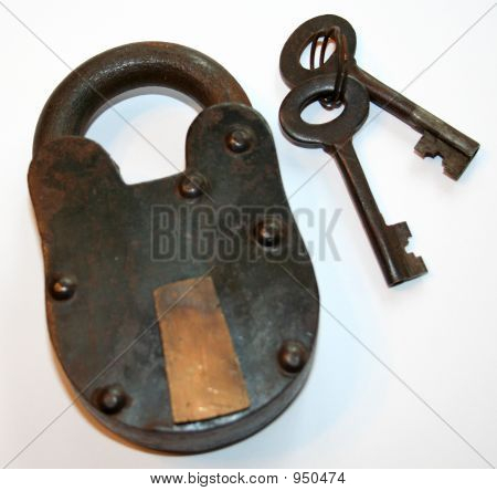 Antique Iron Padlock And Keys